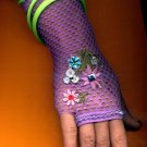 #LGGLOVE-03: Long Fishnet Glove with Embroidery and Heart Bead Trim