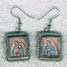 #EARVM-02: Metal Frame Virgen of Guadalupe Earrings