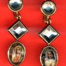 #EARSH-04: Triple Crystal Sacred Heart Of Jesus & Mary Earrings