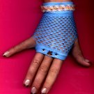 #SHGLOVE-03: Short Turquoise Fishnet Glove with Sequins Butterfly and Lace Trim