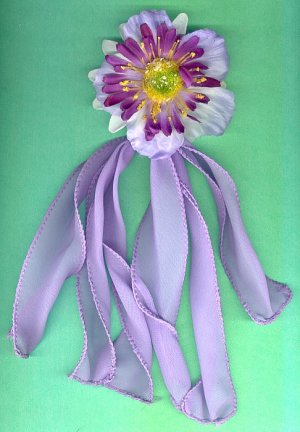 #HGCLIP-39: Pastel Purple Flower Hair Clothing Accessory Clip, Pin and Ponytail Holder