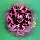 #CLIP-70: Pink Leopard Print Flower Hair Clothing Accessory Clip, Pin, Scrunchie and Ponytail Holder
