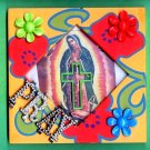 #WALLPLAQUE-12: Hand decorated Virgin of Guadalupe PRAY Wall Plaque or Stand