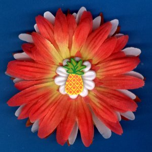 #CLIP-185: Pineapple Flower Hair Clothing Accessory Clip, Pin and Ponytail Holder