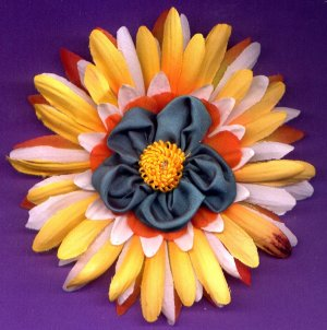 #CLIP-187A: Fabric Flower Hair Clothing Accessory Clip, Pin and Ponytail Holder