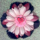 #CLIP-187: Bright Pink Heart Flower Hair Clothing Accessory Clip, Pin and Ponytail Holder