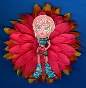 #CLIP-188: Funky LegWarmer Dance Girl Flower Hair Clothing Accessory Clip, Pin and Ponytail Holder
