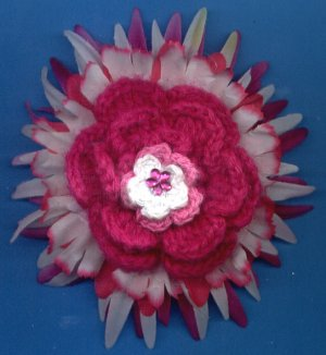 #CLIP-191: Pink Crochet Flower Hair Clothing Accessory Clip, Pin and Ponytail Holder