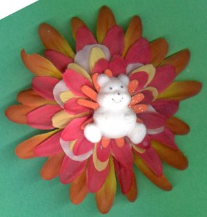 #CLIP-192:Teddy Bear Flower Hair Clothing Accessory Clip, Pin and Ponytail Holder