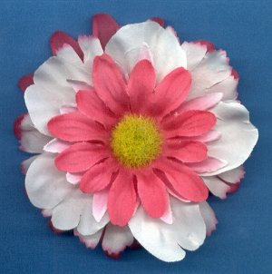 #CLIP-198: Pink White Tropical Flower Hair Clothing Accessory Clip, Pin and Ponytail Holder