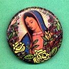 #vmpin-02: Pretty Flowers & Roses Design Praying Virgin of Guadalupe Clothing Pin