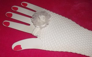lglove-09: Hand decorated colorful fishnet gloves