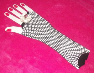lglove-07: Hand decorated colorful fishnet gloves