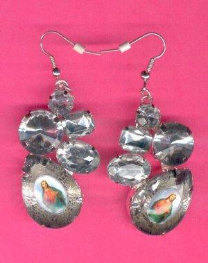 #EARSH-05: Sacred Heart of Jesus Jumbo Gem Image Earrings