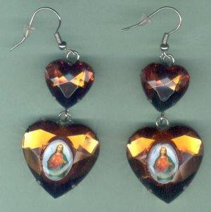 EARSH-10: Sacred Heart of Jesus Jumbo Gem Image Earrings