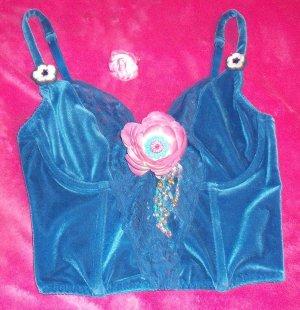 Blue Velvet Lace Flower Bead Bustier