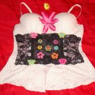 Polka Dot Flower Butterfly Lace Bustier