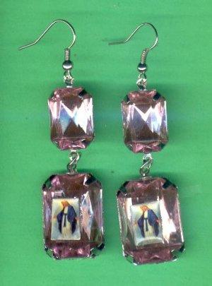 #EARVM-14: Jumbo Gem Virgin Mary Guadalupe Earrings
