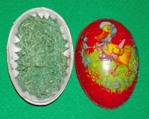 Early Vintage German Easter Egg Candy Container Duck in Bonnet Basket of Eggs Paper Mache