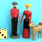 Vintage Antique German Erzgebirge Christmas Putz Noah's Ark Large Scale Carved Wood Man Woman Dog