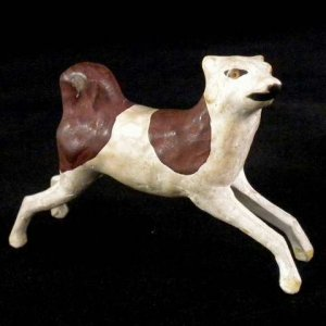Early Vintage German Erzgebirge Putz Springing Leaping Dog Composition Wood Legs Rarity 1930