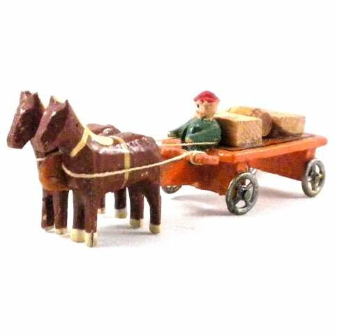 Antique German Erzgebirge Christmas Putz Miniature Horse Drawn Wagon with Barrel Crates Toy