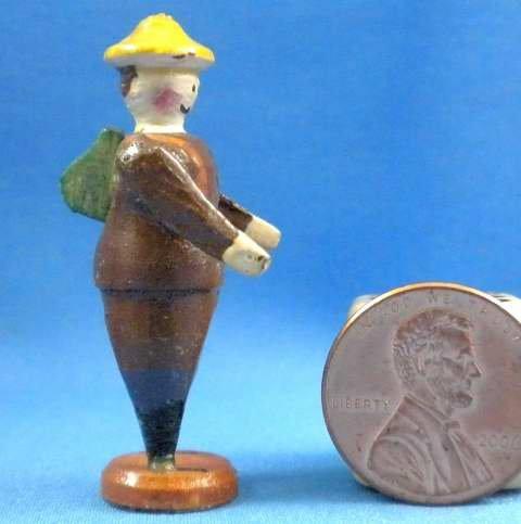 Vintage Erzgebirge German Christmas Putz Village Miniature Carved Wood Hiker 1930-40 Handcrafted