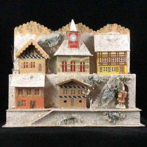 Antique German Christmas Erzgebirge Mountainside Village for Illuminating Dresden Santa Nikolaus