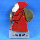 Vintage 1934 German Christmas Erzgebirge WHW Santa Wood Badge Pin Back Weihnachtsmann
