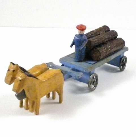 Antique Erzgebirge German Putz Christmas Village Miniature Carved Wood Horse Drawn Wagon