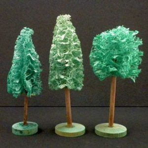 Antique German Erzgebirge Christmas Putz 3 Loofah Luffa Trees Nativity Village Landscaping Trains