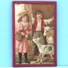 Vintage German Dollhouse Roombox Picture Victorian Children Feeding Goats in Barn