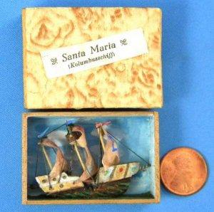 Antique German Rare Miniature Wood Santa Maria Columbus Ship Kolumbusschiff Matchbox Diorama Toy