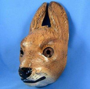 Antique German Easter Rabbit Hare Mask Paper Cardboard Rarity Halloween Carnival Display