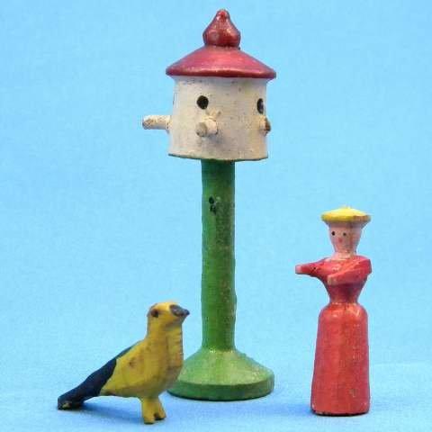 Antique German Christmas Putz Erzgebirge Miniature Carved Wood Woman Bird feeder Bird Village