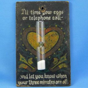 Vintage Pennsylvania Dutch Folk Art Egg and Telephone Timer Hand Painted Primitive