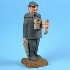 Antique Vintage German Erzgebirge Miner Bergmann Hand Carved Wood Beautiful Primitive Folk Art
