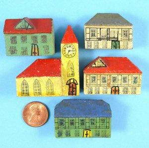 Antique Putz German Erzgebirge Miniature Wood Village Buildings