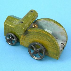 Antique German Putz Erzgebirge Miniature Wood Hanomag Tractor Metal Wheels Christmas Village Toy