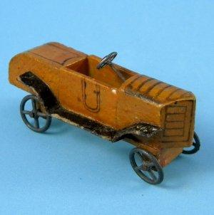 Antique German Erzgebirge Scarce Race Car Rennwagen Wood Metal Wheels Miniature Putz Toy