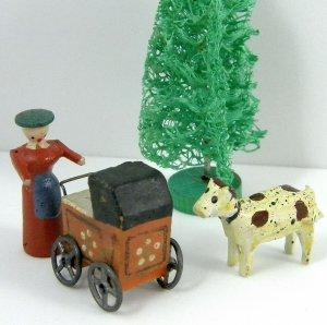 Antique Erzgebirge German Christmas Putz Miniature Wood Baby Carriage Mother Dog Tree Village Toys