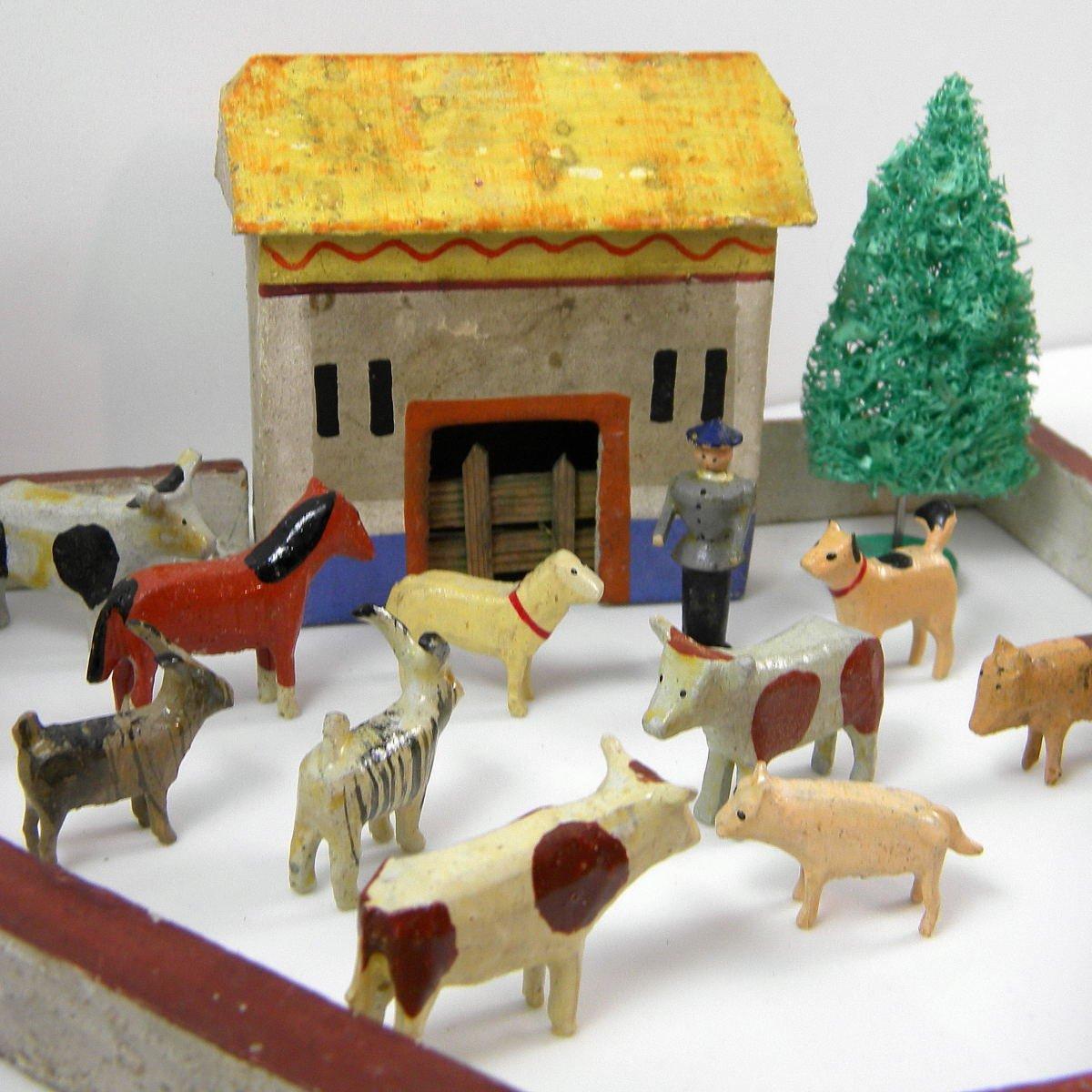 Christmas Tree Gates For Dogs: Antique German Erzgebirge Christmas Putz Barn Miniature