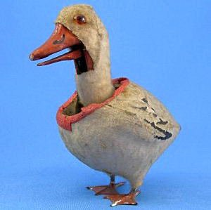 Antique Easter Duck Nodder Wool Flocked Mache Wood Glass Eyes Metal Feet Functioning