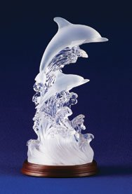 Lighted Frosted Glass Dolphins Wedding Cake Topper