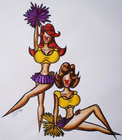 Tittle ~ The Hunnie Laker Girls ~ Original Artwork ink pencil sketch by Sylvia Lizaraga