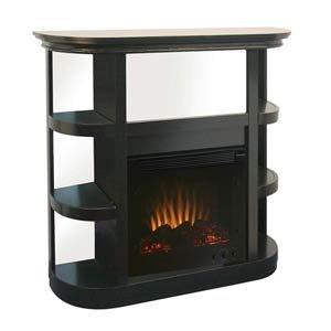 Modern Metropolitan Electric Fireplace w/ Curio Shelves