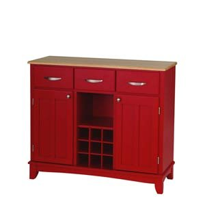 Red Country Buffet With Wine Storage