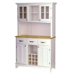 White Buffet With Hutch and Wine Storage