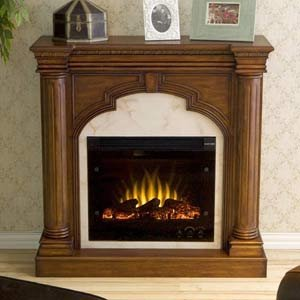 Ellington Mahogany and Marble Electric Fireplace