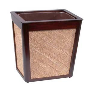 Rattan Wastebasket with Mahogany Trim